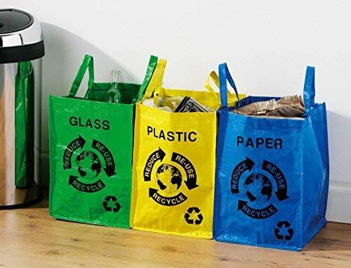 Separar los residuos de tu hogar con etiquetas y bolsas de colores para papel de fibra de vidrio y plástico: ...
