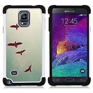 """Hypernova Híbrido Heavy Duty armadura cubierta silicona prueba golpes Funda caso resistente Para Samsung Galaxy Note 4 IV / SM-N910 [Las aves del cielo del trullo Libertad profunda Vignette""""]"""