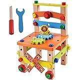 多功能拆装鲁班椅 儿童创意螺母丝组装益智拼装木制积木玩具百变螺母工具木制工作台 (A款)