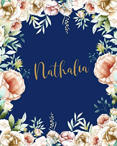 Nathalia Dotted Journal: Dotted Grid Bullet Journal Notebook Initial For Creative Journaling Pretty Gold Watercolor Flowers Blue Funny School Supplies Birthday Valentines & Christmas Gift