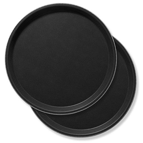 """Jubilee 11"""" Round Restaurant Serving Trays (Set of 2), Black - NSF Certified Non-Skid Food Service Tray"""