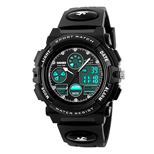 - Kids Outdoor Sports Children's Waterproof Wrist Dress Watch with LED Digital Alarm Stopwatch Lightweight Silicone for Boy Girl (Black)