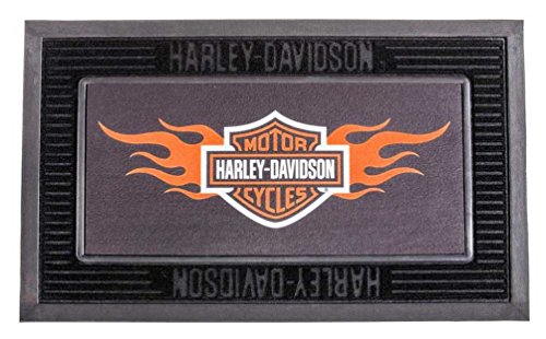 Harley-Davidson Entry Floor Mat, Flame Bar & Shield Kitted Set, Black P14004901]()