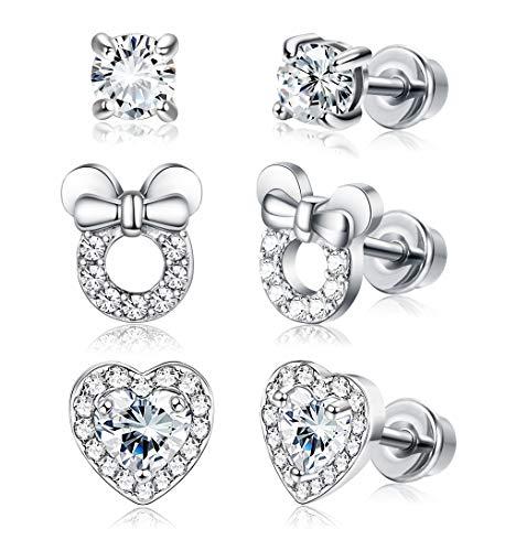 JOERICA 3 Pairs Girls Screwback Earrings for Women Heart CZ Stud Children Toddler Earrings Stainless Steel Set for -