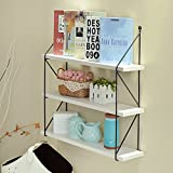 WELLAND 3-Tier Display Wall Shelf Storage Rack Wall Rack , White