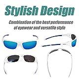 Duduma Tr8116 Polarized Sports Sunglasses for Baseball Cycling Fishing Golf Superlight Frame (White frame with blue lens)