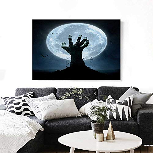 Halloween Modern Canvas Painting Wall Art Realistic Zombie Earth Soil Full Moon Bat Horror Story October Twilight Themed Art Stickers 24