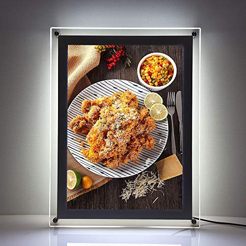 A2 Wall Mounted led Acrylic Frame Store Sign Holders Crystal Picture Frame Menu Board Advertising Display