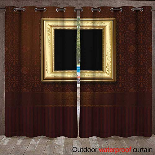RenteriaDecor Outdoor Curtain for Patio Picture Frame on Vintage Wallpaper W108 x L84