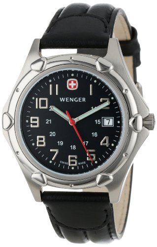 Wenger-Mens-73115-Standard-Issue-XL-Charcoal-Dial-Black-Leather-Strap-Watch