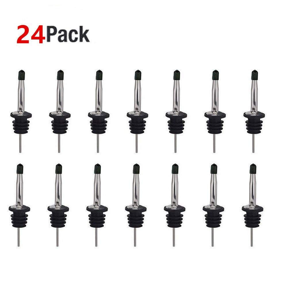 24 Pack Liquor Pour Spouts Set - Stainless Steel bottle spout and Liquor Pourers Dust Caps Covers SZLFSX