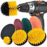 Exteren Drill Brush Scrub Pads 8 Piece Power Scrubber Cleaning Kit All Purpose Cleaner Scrubbing Cordless Drill for Cleaning Pool, Shipping From USA (1 Set)