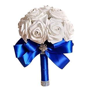 Leewos 2019 Fashion! Wedding Bouquet Crystal Roses Pearl Bridal Artificial Silk Flowers Bridesmaid Decor Blossom 71