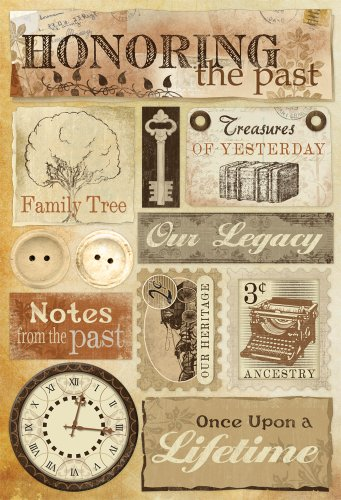 Scrapbooking Heritage - Karen Foster Design Acid and Lignin Free Scrapbooking Sticker Sheet, Honoring The Past