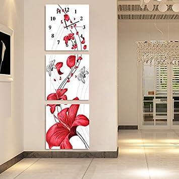 OLILEIO Salon moderne et minimaliste pas fort tableaux ornent les murs pendaison photo arts horloge murale mute Jong-