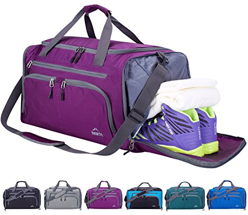 6fbabd3564 Venture Pal Packable Sports Gym Bag with Wet Pocket   Shoes Compartment  Travel Duffel Bag for Men and Women-Purple