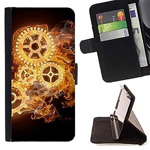 For LG G3 Case , Mecánica Reloj Negro Ruedas Oscuro- la tarjeta de Crédito Slots PU Funda de cuero Monedero caso cubierta de piel