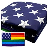 VSVO LGBT+ Rainbow American Flag 3×5 Foot with Embroidered Stars – Sewn Stripes – Brass Grommets – UV Protection – Gay Pride American Banner Review