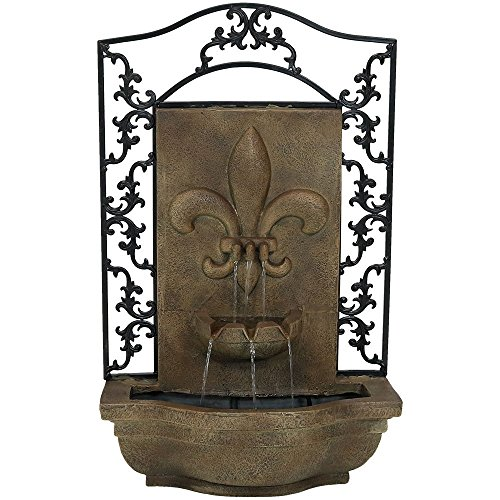 Sunnydaze French Lily Outdoor Wall Water Fountain, with Electric Submersible Pump, Florentine Stone, 33 Inch (Outdoor Falling Water Fountain)