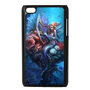 Diy Sea Mermaid Phone Case for ipod touch 4 Black Shell Phone JFLIFE(TM) [Pattern-1]