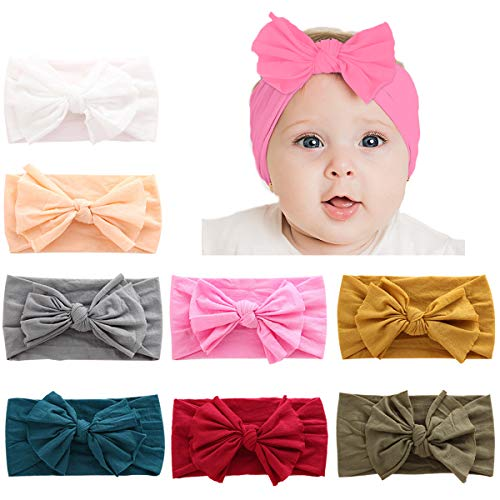 Handmade Infant Girl - Makone Handmade Soft Stretchy Nylon Headband with Bows Knots Flowers for Infant Baby Girls-style2