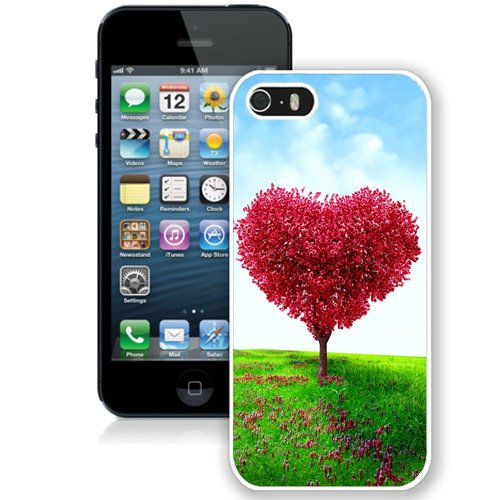 Coque,Fashion Coque iphone 5S Heart Shaped Tree Valentines Day Love blanc Screen Cover Case Cover Fashion and Hot Sale Design