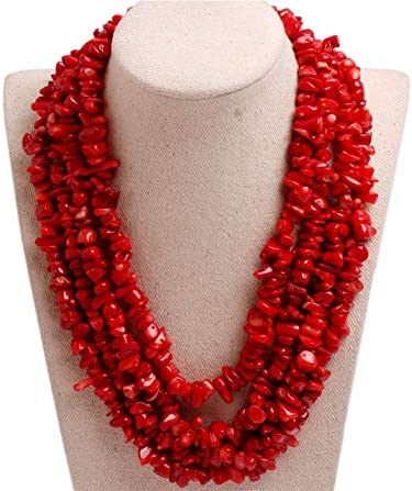 28 Inch Red Coral Beaded Necklace with Black Onyx and Earrings