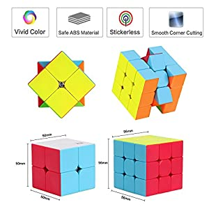 Speed Cube Set, Roxenda Stickerless Magic Cube Set of 2x2x2 3x3x3 Cube Frosted Puzzle Cube