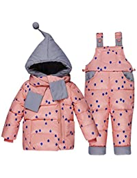 3dfe93b4f5a26 Baby Toddler Winter Snowsuit Polka Dot Puffer Jacket Hoodie Coat Down  Snowpants Bib Down Coat 2