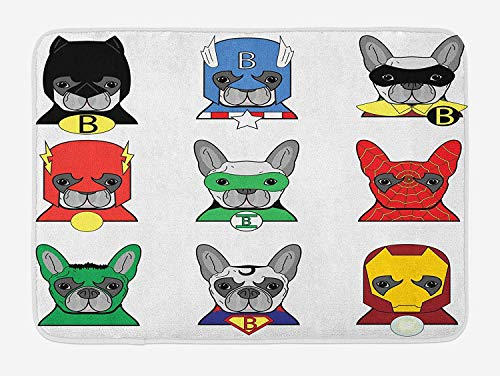 Superhero Bath Mat, Bulldog Superheroes Fun Cartoon Puppies in Disguise Costume Dogs with Masks Print, Plush Bathroom Decor Mat with Non Slip Backing, 30INCHES Wide x 18 INCHES Long, Multico]()