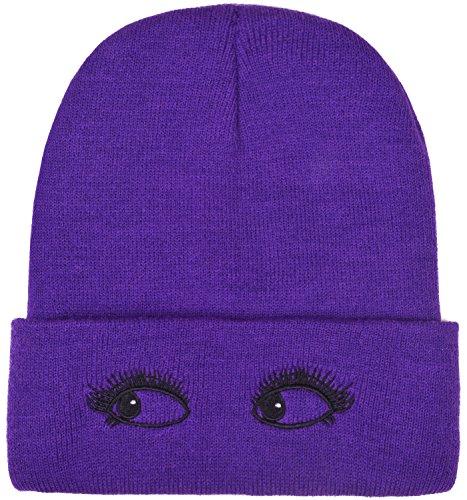 [Womens Knit Hats Cuff Purple Beanie Skull Cap Watch Hat for Men and Women] (Purple Hats For Sale)