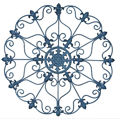 - NE Hand Made Metal Iron Wall Medallion Metal Vintage Style Ornate Iron Wall Sculpture Plaque Decoration