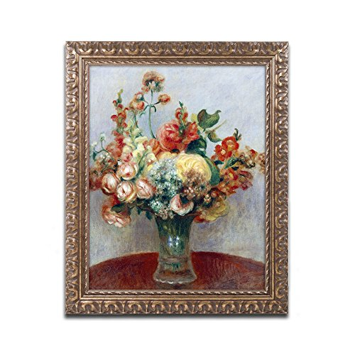 Flowers in a Vase 1898 Artwork by Pierre Renoir, 16 by 20-Inch, Gold Ornate Frame (Ornate Vase Glass)