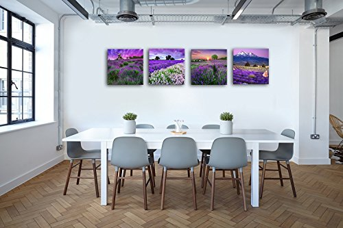 Lavender Home Decor Canvas Wall Art Print for Bathroom Pictures Purple Flowers Provence Field Paintings Modern Artwork Landscape Photos 4 Panels Set Framed Relax Theme Kitchen Dining Room Beauty Salon