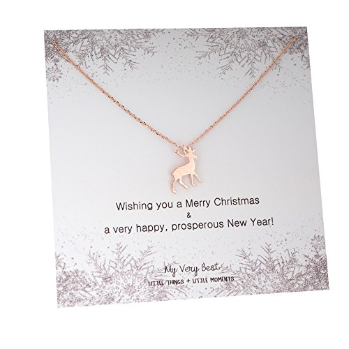 My Very Best Christmas New Year Antler Necklace, Winter Jewelry (Rose Gold Plated Brass)
