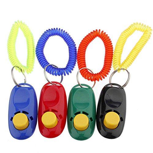 Bazaar 1 x Pet Dog Button Click Clicker Trainer Training Aid Wrist Strap Guide