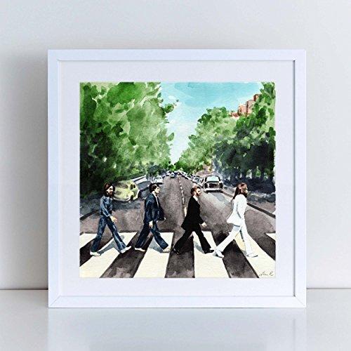 The Beatles Abbey Road Art Beatles Wall Decor Wall Art John Lennon Painting Beatles Art Abbey Road Watercolor Abbey Road Poster Canvas Print Classic Vinyl The Beatles Album Unframed (Vinyl Unframed)
