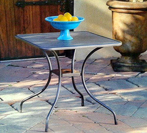 Micro Mesh Commercial Wrought Iron Square 28'' Bistro Table with Center Hole for Umbrella Pole (Mesh Wrought Iron Patio Furniture)