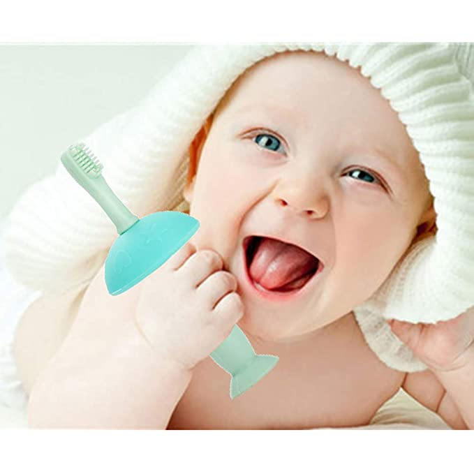 1 pc silicona Mushroom cepillo de dientes de formación de mordedores para niños Cepillos de dientes suave masaje de dientes Oral Care (rosa claro): ...