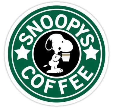 Snoopy's Coffee (Size 8 x 8 Centimeter) Car Motorcycle Bicycle Skateboard Laptop Luggage Vinyl Sticker Graffiti Decal Bumper Sticker By August999