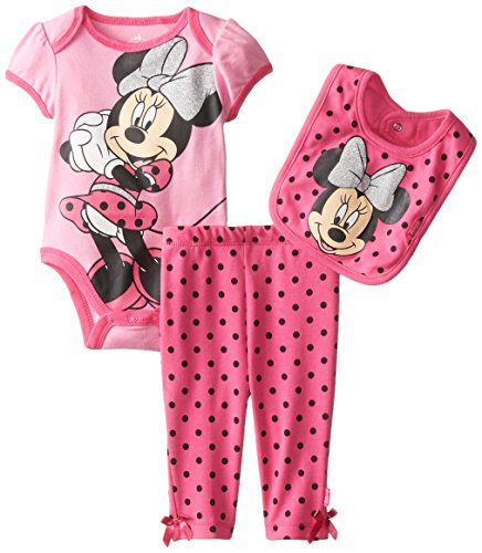 Disney Baby Girls  Minnie Mouse 3 Piece Bodysuit Bib and Pant Dress, Pink, 0-3 Months