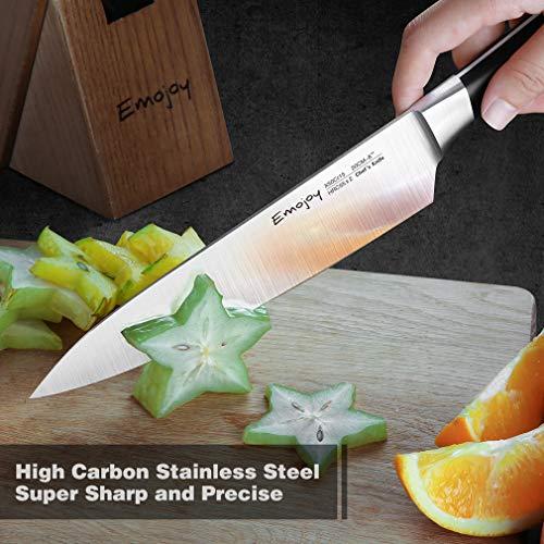 Knife Set, 8-Pieces Kitchen Knife Set with Block Wooden, Self Sharpening Manual for Chef Knife Set, German Stainless Steel, Emojoy (Gray) by Emojoy (Image #3)