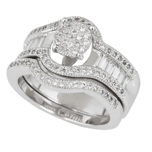 Sterling Silver Baquette Micropave Round Cut Halo and Baguette Wedding Set with Cubic Zirconia