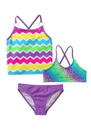 91be0c7227 Amazon.com: Girls OP 3 piece Purple Animal Print & Chevron Tankini Bikini  Swimsuit: Clothing
