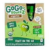 GoGo squeeZ Organic Applesauce on the Go, Apple Apple, 3.2 Ounce (4 Pouches), Gluten Free, Vegan Friendly, Healthy Snacks, Unsweetened Applesauce, Recloseable, BPA Free Pouches