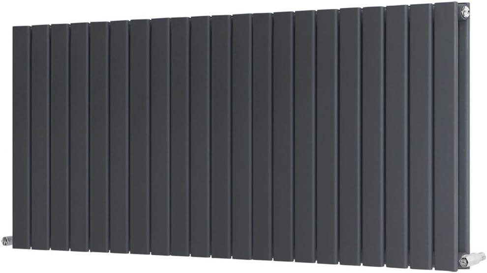 NRG Anthracite 600x612mm Horizontal Designer Radiator Single Column Flat Panel Central Heating Rads