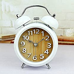 Usany 3'' Two Bells 3D Table Clocks Desktop Clock Home Decoration Desk Clocks Non-ticking Silent Quartz Vintage Alarm Clocks with Nightlight and Loud Alarm