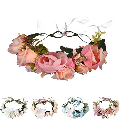 Handmade Adjustable Flower Wreath Headband Halo Floral Crown Garland Headpiece Wedding Festival Party (G-(Pink))