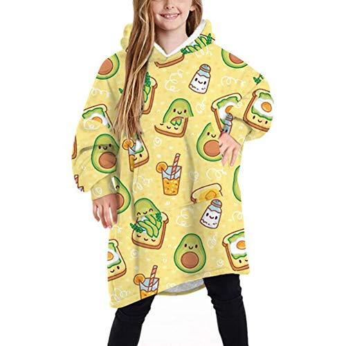 Oversized deken met capuchon voor kinderen, schattige pluizige fleece capuchonsweatshirt met grote zak, voor kinderen…