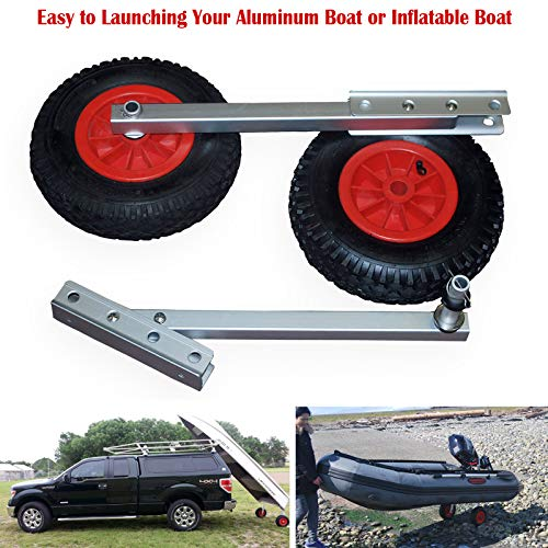 SEAMAX EZ Load Boat Launching Wheels Set for Inflatable Boat & Aluminum Boat, with 12